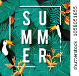 tropical flowers background.... | Shutterstock .eps vector #1058051855