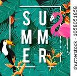 tropical flowers background.... | Shutterstock .eps vector #1058051858