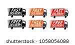 fast delivery  set icons. free... | Shutterstock .eps vector #1058056088