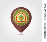 sheep house pin map icon. farm...