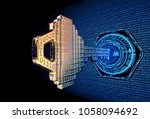 a 3d rendered cyber security... | Shutterstock . vector #1058094692