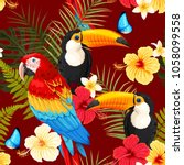 seamless birds and flowers | Shutterstock .eps vector #1058099558