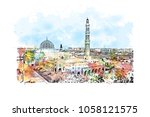 sultan qaboos grand mosque in...   Shutterstock .eps vector #1058121575