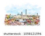 sultan qaboos grand mosque in... | Shutterstock .eps vector #1058121596