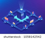 cryptocurrency and blockchain... | Shutterstock .eps vector #1058142542
