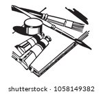 artists equipment   retro clip... | Shutterstock .eps vector #1058149382