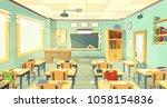 vector school classroom... | Shutterstock .eps vector #1058154836