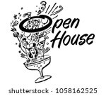 open house party banner   retro ... | Shutterstock .eps vector #1058162525