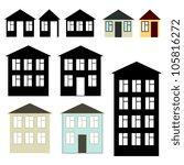 simple buildings set | Shutterstock .eps vector #105816272