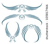 Flying Owls Tattoo   Vector...