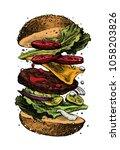 hamburger colorful vector... | Shutterstock .eps vector #1058203826
