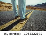man ready to take a new way and ... | Shutterstock . vector #1058222972