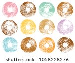 donuts stamp set. | Shutterstock .eps vector #1058228276
