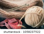 accessories for knitting. a... | Shutterstock . vector #1058237522
