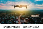 Flying Drone With Aerial View...