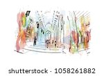 sultan qaboos grand mosque in...   Shutterstock .eps vector #1058261882