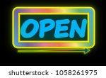 realistic open neon sign... | Shutterstock . vector #1058261975