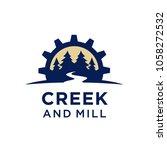 creek and mill logo design... | Shutterstock .eps vector #1058272532