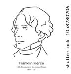 MARCH 28, 2018: Editorial portrait of Franklin Pierce, 14th President of the United States in black and white  | Shutterstock vector #1058280206