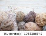 the yarn is beige  brown  gray...   Shutterstock . vector #1058288942
