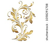 golden floral pattern.... | Shutterstock .eps vector #1058291708