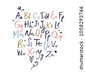 vector hand drawn font set. abc ...   Shutterstock .eps vector #1058293766
