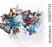 butterfly design illustration... | Shutterstock .eps vector #1058297222