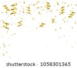 gold ribbons and confetti on... | Shutterstock .eps vector #1058301365