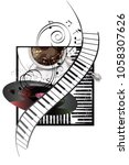 abstract musical design with...   Shutterstock .eps vector #1058307626