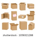 cardboard boxes. brown box... | Shutterstock .eps vector #1058321288