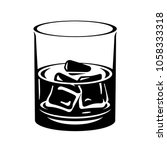 whiskey glass with ice cubes.... | Shutterstock .eps vector #1058333318