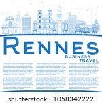 outline rennes france city... | Shutterstock .eps vector #1058342222