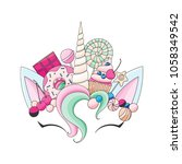 unicorn cute vector... | Shutterstock .eps vector #1058349542