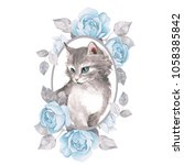Stock photo cat cute kitten and roses watercolor illustration 1058385842