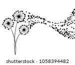 black on white vector dandelion ... | Shutterstock .eps vector #1058394482