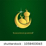 greeting card of holy ramadhan... | Shutterstock .eps vector #1058403065