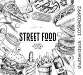 hand drawn fast food banner....   Shutterstock . vector #1058403992