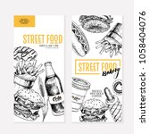 hand drawn fast food flyers.... | Shutterstock . vector #1058404076