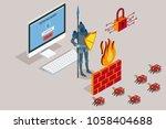 online data security. antivirus ... | Shutterstock .eps vector #1058404688