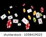 casino playing cards and chips... | Shutterstock .eps vector #1058419025