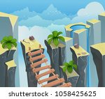 palms and stones seamless... | Shutterstock .eps vector #1058425625
