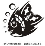 aggressive angry fish. black... | Shutterstock .eps vector #1058465156