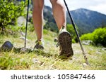 woman hiking in mountains ...   Shutterstock . vector #105847466