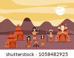 native american people cartoon | Shutterstock .eps vector #1058482925