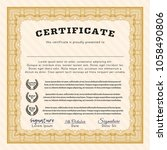 orange awesome certificate... | Shutterstock .eps vector #1058490806