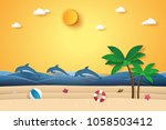 summer time   sea with dolphins ... | Shutterstock .eps vector #1058503412