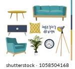 set of sitting room furniture.... | Shutterstock .eps vector #1058504168