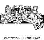 wholesome foods   retro clip... | Shutterstock .eps vector #1058508605