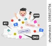 notifications flow. millennial... | Shutterstock .eps vector #1058513756
