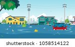 city floods and cars with...   Shutterstock .eps vector #1058514122